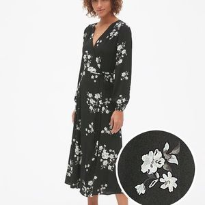 GAP black floral wrap midi dress